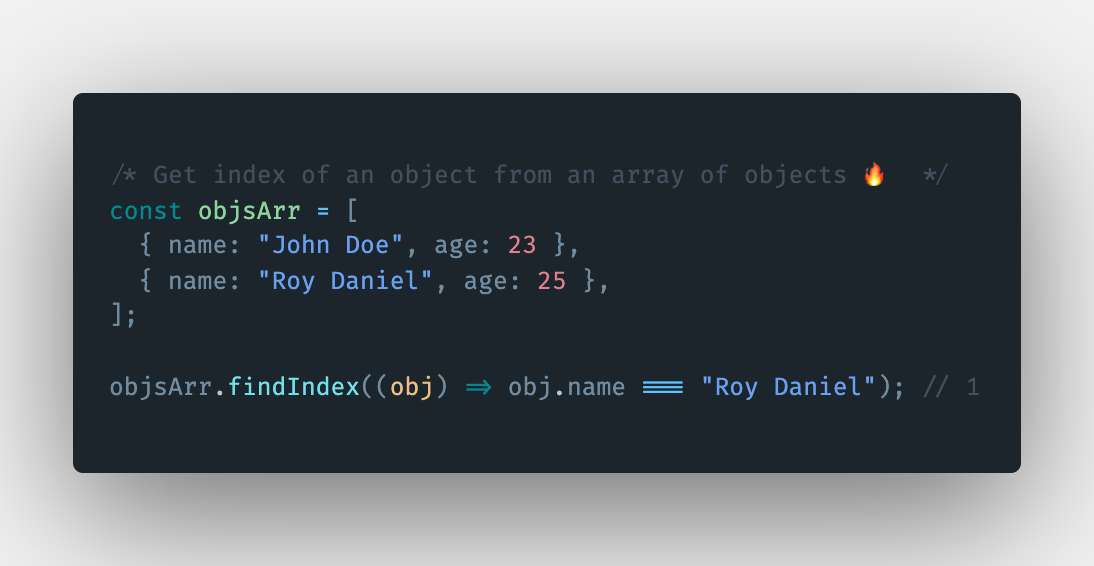 How to get the index of an object from an array of objects in JavaScript?